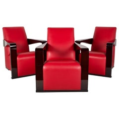 Hugues Chevalier Lounge Chairs in Red Leather and Lacquered Walnut