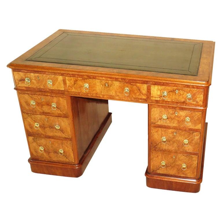 Burr Walnut 19th Century Antique Pedestal Desk For Sale - Burr Walnut 19th Century Antique Pedestal Desk For Sale At 1stdibs