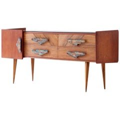 Rare Italian Mahogany and Teak Sideboard with Chest of Drawers, 1950s