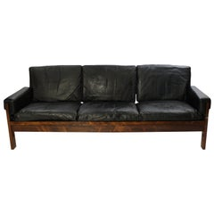 Sofa in Rosewood and Black Leather of Danish Design, 1960s