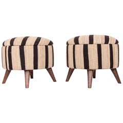Ottomans / Poufs Upholstered with a Vintage Kilim Black and White