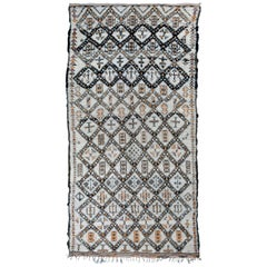 Vintage Beni Ouarain Moroccan Berber Rug with Henna Accents