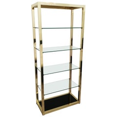 Italian Mid-Century Modern Gold Plated Shelving Unit Étagère, 1970s