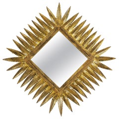 Spanish 1950s Hammered Gilt Iron Rhombus Sunburst Mirror by Ferro Art