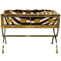 Unique Midcentury French Two-Drawer Zebra Skin Commode on Curule Style Stand