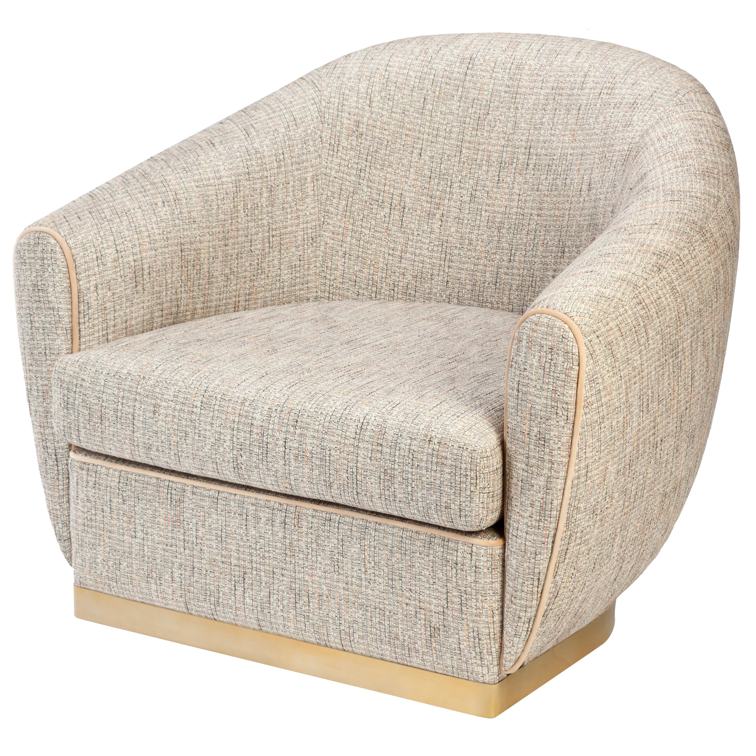 Grace Armchair in Upholstery and Brass