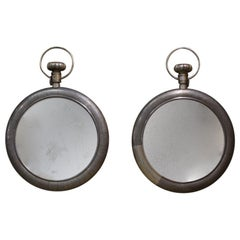 Pair of Late 20th Century Pewter Covered Mirrors from a Loewe Store