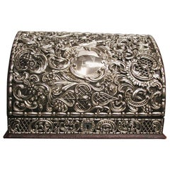 Victorian Moroccan Leather Writing Case Overlaid with Embossed Silver, 1894