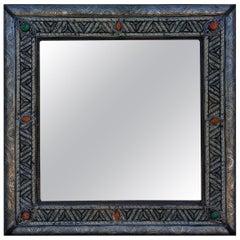 Square Moroccan Camel Bone Mirror, Marrakech