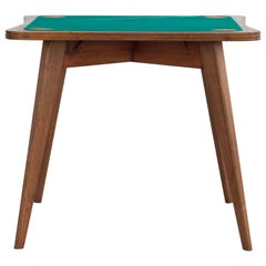 Italian Game Table with Green Wool Fabric Mouse, 1940s