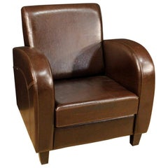 20th Century Brown Leather and Wood English Armchair, 1980