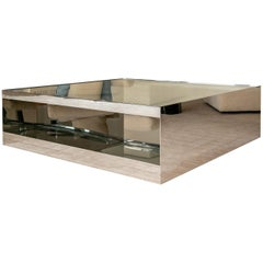 Joe D'Urso Steel and Glass Coffee Table
