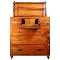 Fine Antique British Mahogany Campaign Style Server Chest