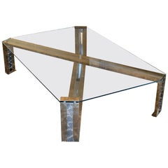 Romeo Rega Large Coffee Table in Brass/Chrome and Glass Top, Italy 1970s