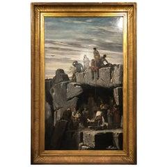 "19th Century Napoleon III° Painting Benedict Masson, 1867 ""Masada"" Metzada"