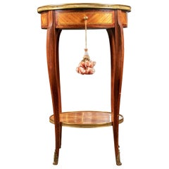 Antique French Parquetry Round Tiered Stand