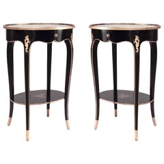 Pair of French Louis XV Style Chinoiserie Decorated End Tables