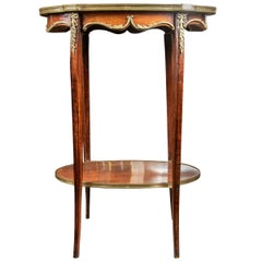 Antique French Marquetry Tiered Side Table
