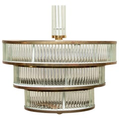 Vintage Bronze and Glass Tiered Fixture