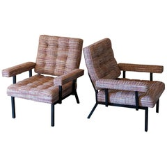 Pair of Black Steel Armchairs, Woven Bouclè Fabric, Italy, 1950