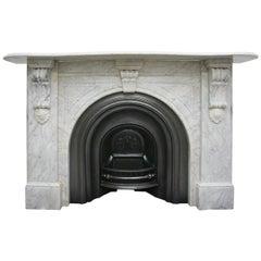 Large English Victorian White Carrara Marble Fireplace Surround