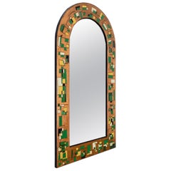 Italian Mirror with a Colored Copper Repoussé Sheet Frame