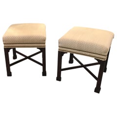 A Pair of Chinese Chippendale Mahogany Benches W.J. Sloan