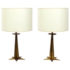 Brass Star Form Lamps Attributed to Tommi Parzinger