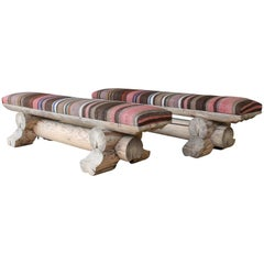 Pine Benches with Upholstered Kilim Seats