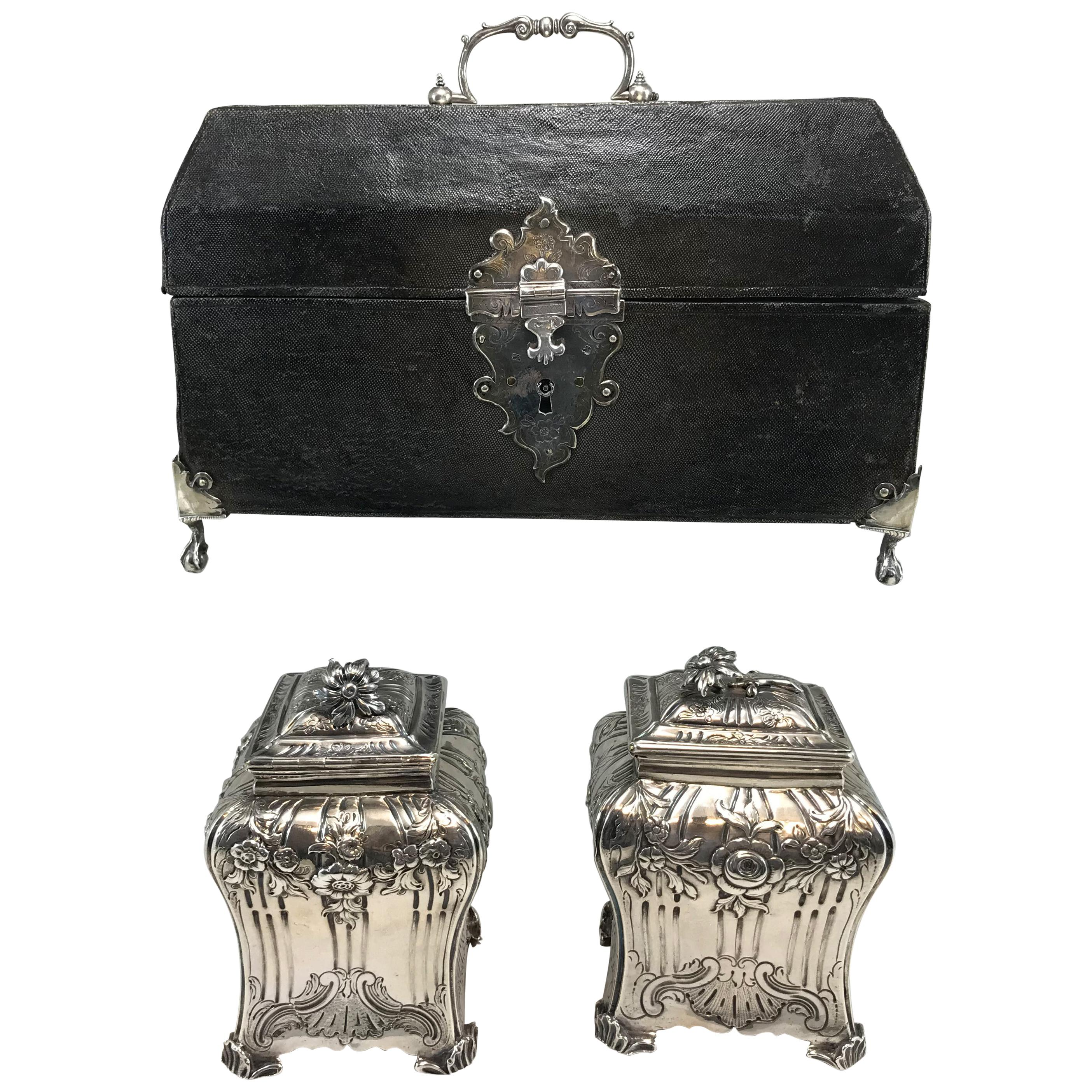 Georgian Shagreen Cased Tea Caddy Box with Pair of Chased Sterling Caddies, 1761