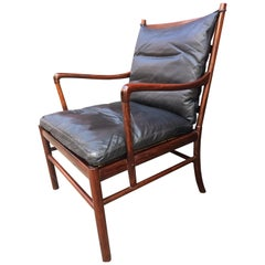Ole Wanscher for Poul Jeppeson Rosewood Colonial Chair with Black Leather