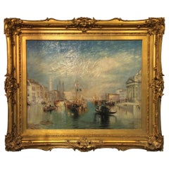 Large Oil Painting on Canvas in Gilt Frame, after Turner The Grand Canal