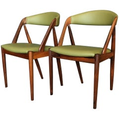Pair of Kai Kristiansen Rosewood Model 31 Chairs, New Leather Upholstery