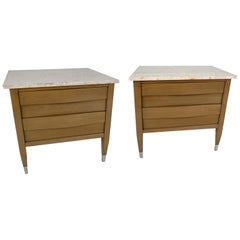 Pair of Grey Cerused and Travertine Marble Top Nightstands, Merton Gershun