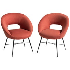 Modern Open Back Armchairs Upholstered in Polyester, Italy, circa 1960