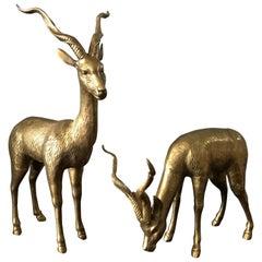 1970s Oversized Italian Brass Gazelle Sculptures, Pair