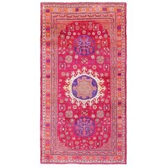 Funky Vintage Purple Silk Pomegranate Khotan Rug. Size: 5 ft 10 in x 11 ft 4 in