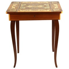 Midcentury Italian Sorrento Musical Table with Wood Inlay