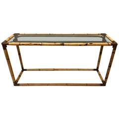 2 Italian Midcentury Bamboo / Rattan and Glass Consoles or Sofa Tables by Banci