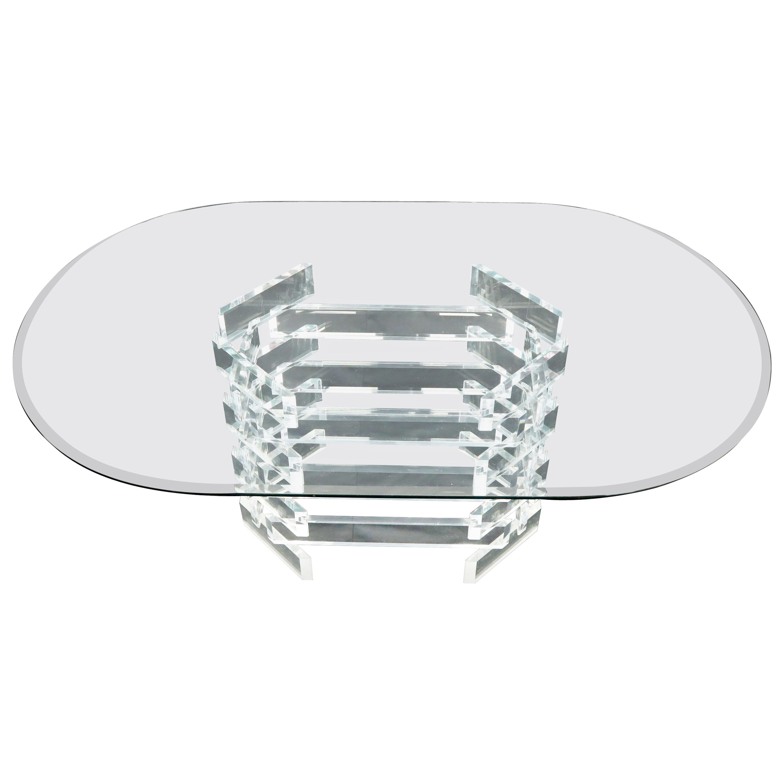 Racetrack Oval Glass Top Stacked Lucite Blocks Base Dining Table