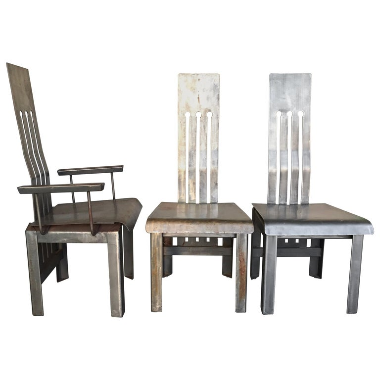 Six Unique Steel Dining Chairs, 1980s For Sale At 1stdibs