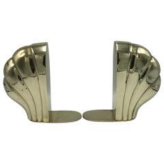 1960s Brass Shell Motif Bookends, Pair