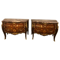 Pair of Marble-Top Bronze Mounted Bombe Floral Inlaid Louis XV Style Commodes