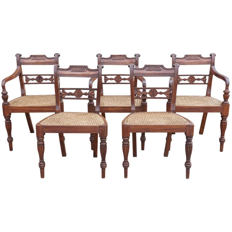 Set of Ten Regency Style Anglo-Indian Chairs For Sale