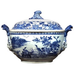 Chinese Export Tureen, Face Handles with Underglaze Blue Landscapes