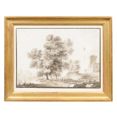 19th Century French Grisaille Watercolor Landscape in Gilt-Wood Frame