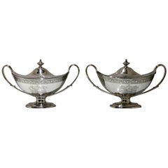 18th Century Antique George III Sterling Silver Pair of Sauce Tureens, London