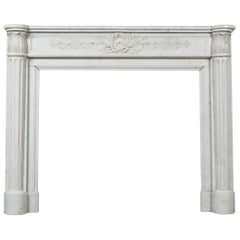 Louis XVI Style White Carrara Marble Mantle
