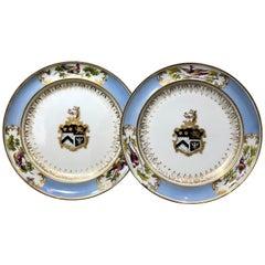 Pair of Chamberlains Worcester Armorial Plates, Davis Birds, Prescott Arms