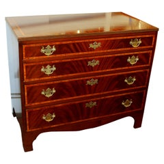 Antique English Inlaid Book-Matched Flame Mahogany Chest of Drawers